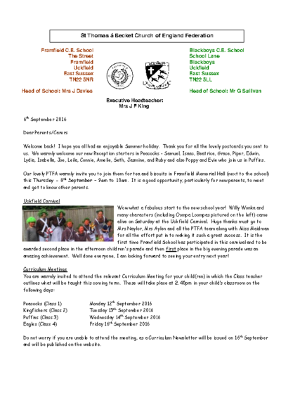 Newsletter 6th September