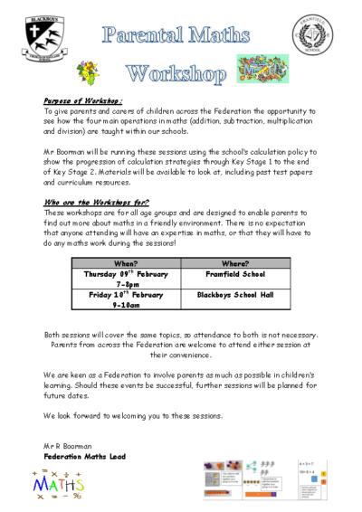 Maths Workshops on 9th & 10th Feb