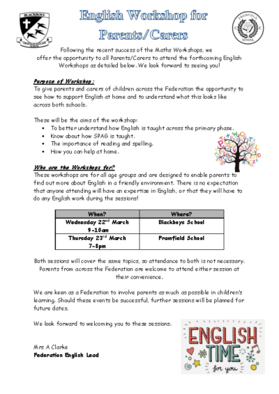 English Workshops 22nd & 23rd March