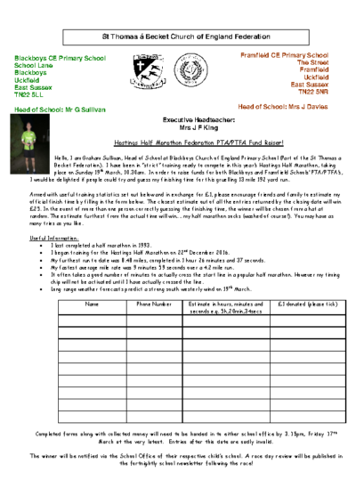 Hastings Half Marathon Federation PTA/PTFA Fund Raiser!
