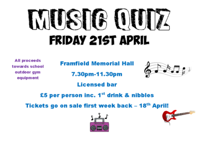 Music Quiz on Friday 21st April