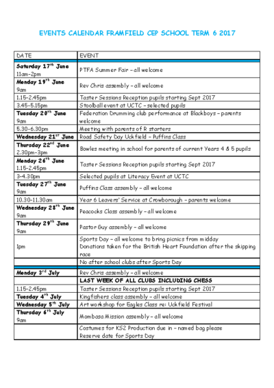 Events Until End of Term