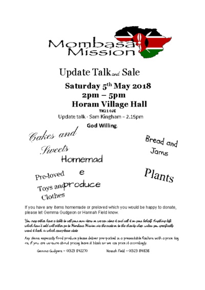 Mombasa Mission Update Talk & Cake Sale on 5th May