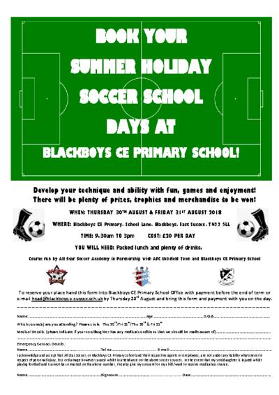 ASSA Soccer Summer School Leaflet