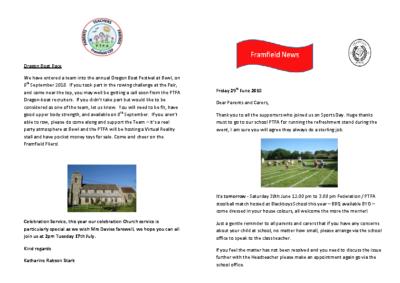 Newsletter 29th June