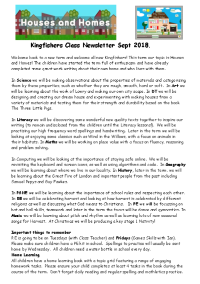 Kingfishers Autumn Term Newsletter – Houses & Homes