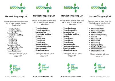 Harvest Shopping List