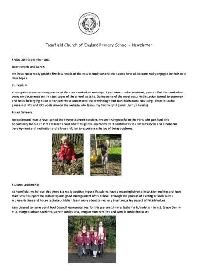 Newsletter 21st September