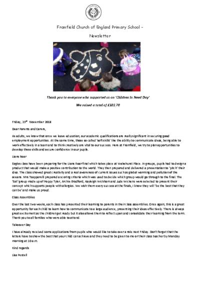 Newsletter 23rd November