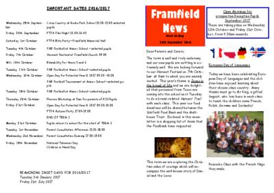 Newsletter 23rd September