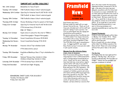 Newsletter 7th October