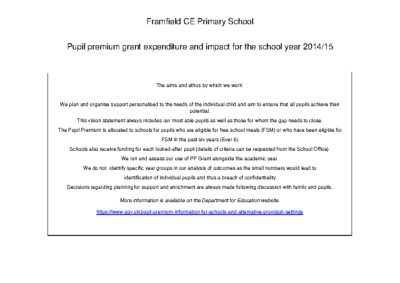 Pupil Premium Report 2014-15