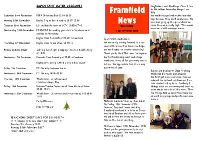 Newsletter 25th November