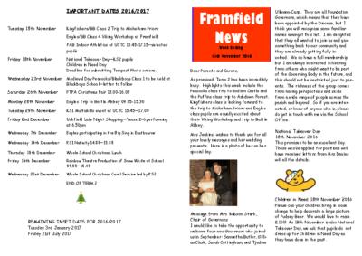 Newsletter 11th November