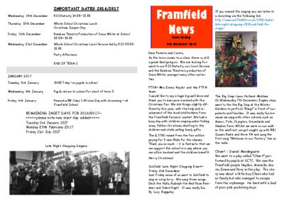 Newsletter 9th December