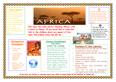 Peacocks Spring Term Newsletter – Africa
