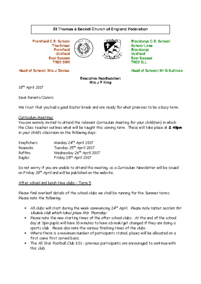 Curriculum Meetings & Clubs for Term 5