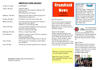 Newsletter 31st March
