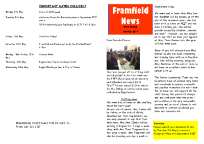 Newsletter 5th May