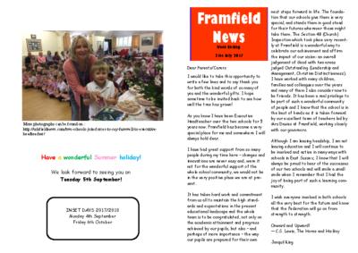 Newsletter 21st July