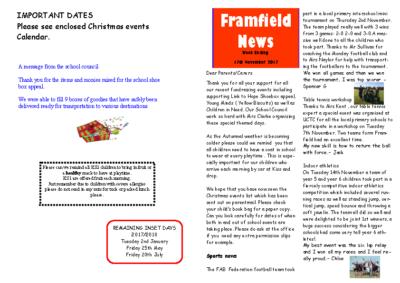Newsletter 17th November