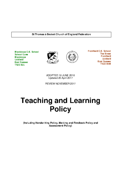 Teaching & Learning Policy – Under Review