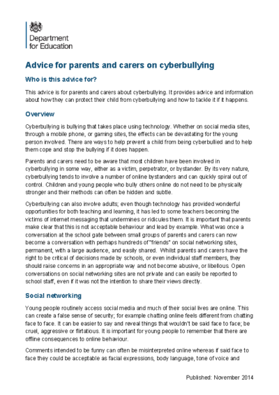 Advice for Parents & Carers on Cyberbullying