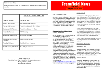 Newsletter 9th February