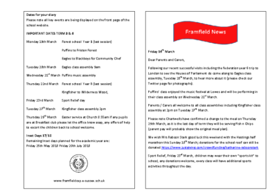 Newsletter 16th March