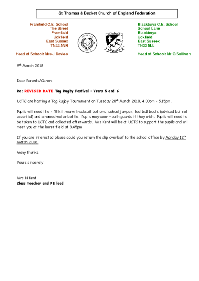 Tag Rugby Years 5 & 6 2018