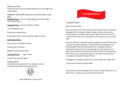 Newsletter 29th March