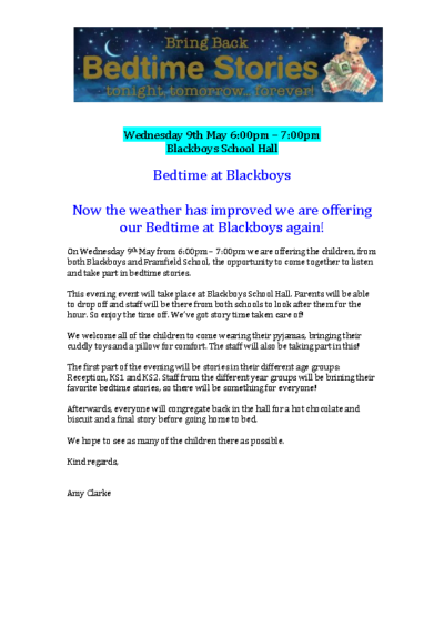 Bedtime at Blackboys on 9th May