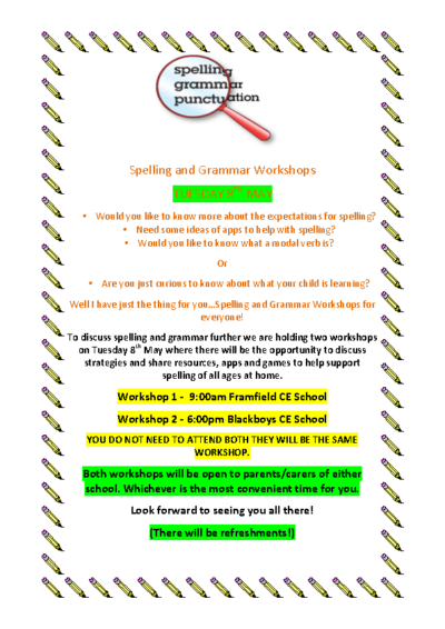 Spelling & Grammar Workshops on 8th May