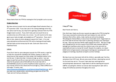 Newsletter 18th May