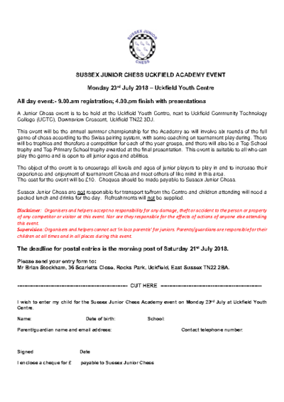 Sussex Junior Chess Event at Uckfield Academy – Entry Form
