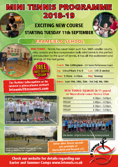 Mini Tennis Starting 11th September