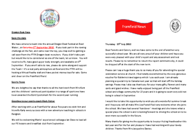 Newsletter 19th July