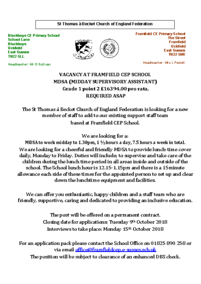 MDSA Required (closing date 9th October)