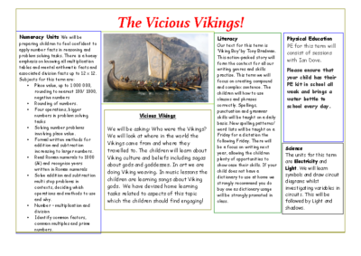 Eagles Autumn Term Newsletter – The Vicious Vikings!
