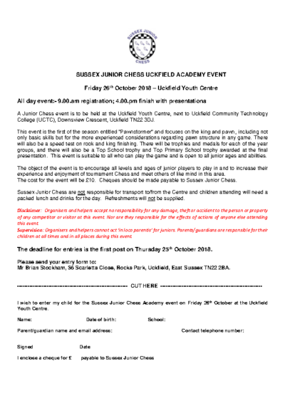 Sussex Junior Chess Uckfield Academy Event on 26th October
