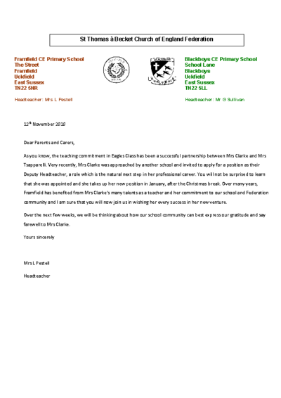 Letter to all parents regarding Mrs Clarke