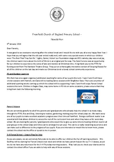 Newsletter 4th January