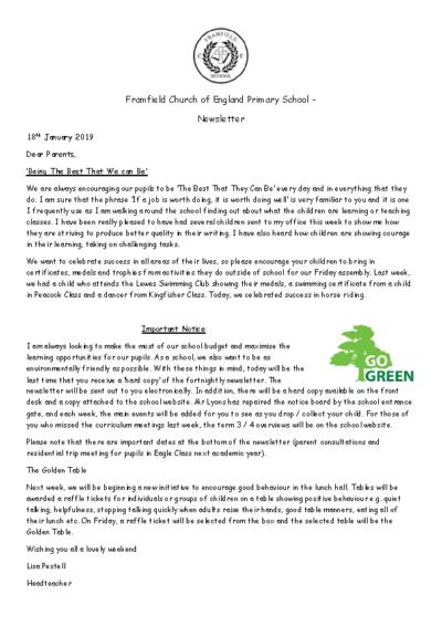 Newsletter 18th January