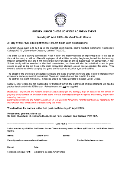 Sussex Junior Chess Uckfield Academy Event on 8th April
