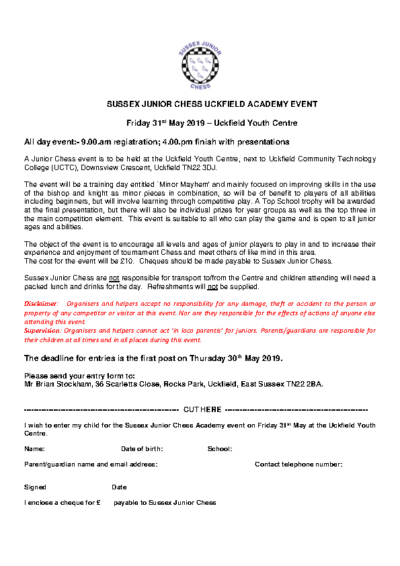 Sussex Junior Chess Uckfield Academy Event on 31st May