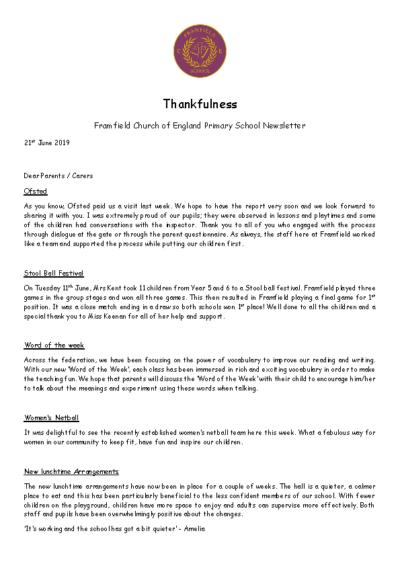Newsletter 21st June