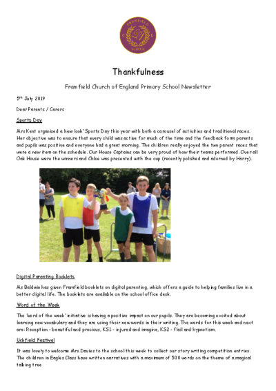 Newsletter 5th July