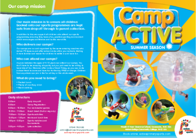 Camp Active Summer Leaflet