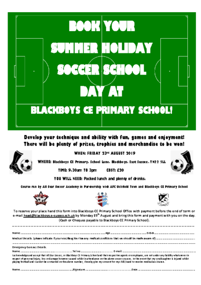 Summer Soccer School on 23 August