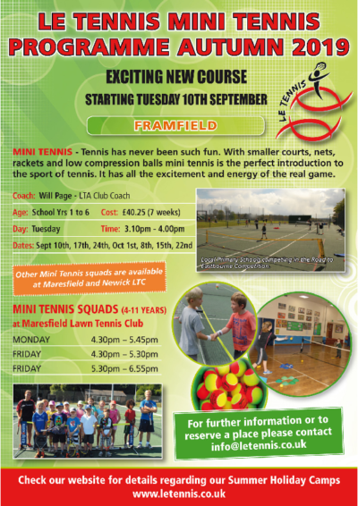 Mini Tennis Starting 10 September